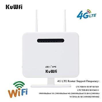KuWFi Router inalámbrico, 300Mbps Desbloqueado 4G LTE WiFi Mobile Modem 3G 4G Ap WiFi Router WFi Hotspot con Tarjeta SIM Solt Support Trabajar con ...