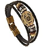 BILONG Jewelry Multi-layer 12 Zodiac Signs Constellation Astrology Leather Bracelet for Women and Men
