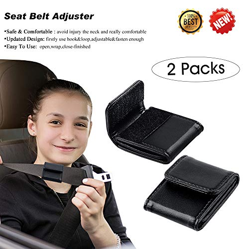 Belt Seat Adjuster - Car Seat Belt Adjuster for Kids & Adults, Comfortable and Safe Car Belt Adjuster Black,2 Packs