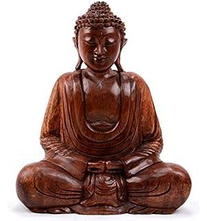 Statue Bouddha Assis En Position Du Lotus H30cm Bois Sculpté Main