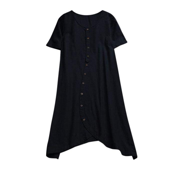 8dc1fee44 Camiseta Mujer Casual Top Mujeres Moda Botón de algodón Manga Corta  Irregular Blusa Tops Primavera Elegantes Carnaval Camisa Oficina Tamaño  Grande Cómodo ...