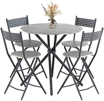 Mecor 5 Pcs Dining Table Set w 4 Folding Chair