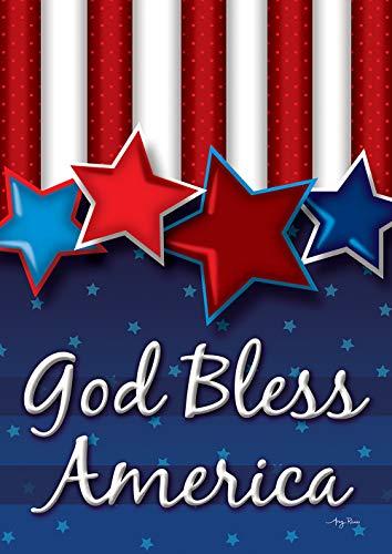 Bless Flag Mini America God - Toland Home Garden 1112384 God Bless America Stars 12.5 x 18 Inch Decorative, Garden Flag (12.5