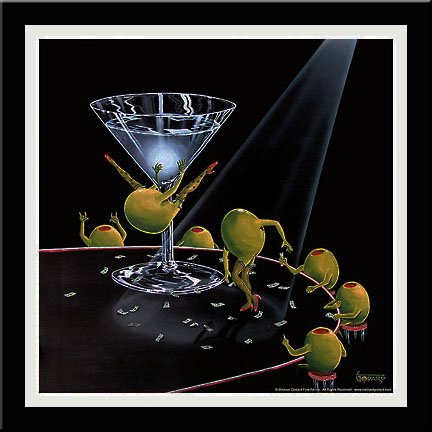 'EVEN DIRTIER MARTINI' Olive art FRAMED/MATTED PRINT - Michael Godard 18x18