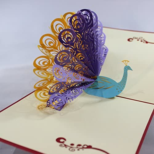3D Pop Up Peacock Greeting Cards. Beautiful Thank You, Gift, Love, Valentine, Invitation, Baby, Wedding etc. Cards from Love Our Gifts. Intricately Cut and Hand Sales