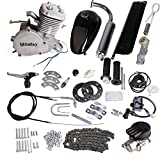 gas bike - Iglobalbuy 80CC Petrol Gas Motor Bicycle Engine Complete Kit Motorized Bike 2-Stroke (silver)