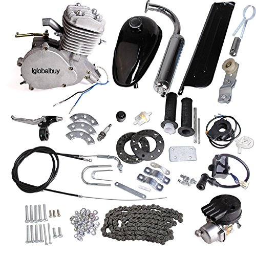 (Iglobalbuy 80CC Petrol Gas Motor Bicycle Engine Complete Kit Motorized Bike 2-Stroke (Silver))