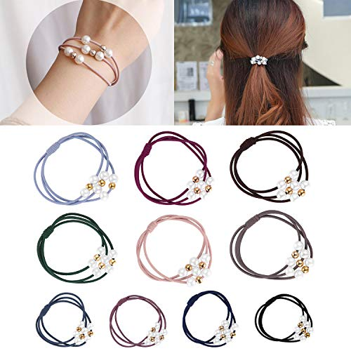 Funtopia 20 Pcs Pearl Hair Ties 10 Colors Hair Ring with Beads Hair Bands Ropes Hair Elastic Bracelet Ponytail Holder Korean Hair Accessories for Women and Girls