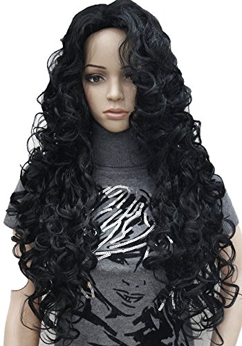 [Strong Woman's Long Full Curly Wig High quality synthetic hair wigs (#1 Black)] (Curly Wigs For Black Hair)