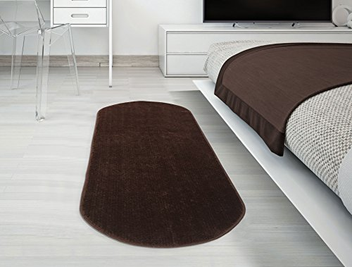Brown Oval Rug - Ottomanson Softy Collection Color Rug, 20