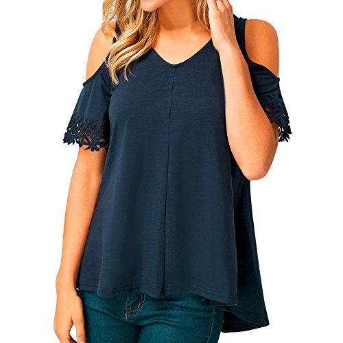 FarJing Hot Sale Women Solid Casual Strapless Lace Tee Blouse Short Sleeve Tops Pullover Shirt (L,Navy)