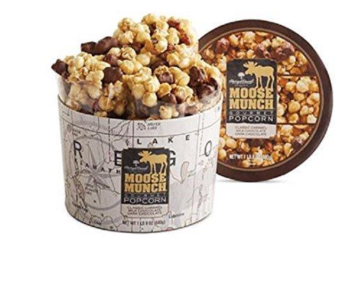 Harry & David Moose Munch Gourmet Popcorn 1 lb 8 oz Gift Drum - Caramel, Dark Chocolate & Milk Chocolate (Caramel Drum)