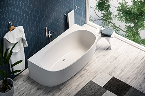 MAYKKE Ocala 68 Inches Modern Unique Specialty Light Acrylic Bathtub Easy to Install Freestanding White Soaker Tubs for Bathroom cUPC certified, XDA1414001 (Collection Freestanding Tub Soaker)