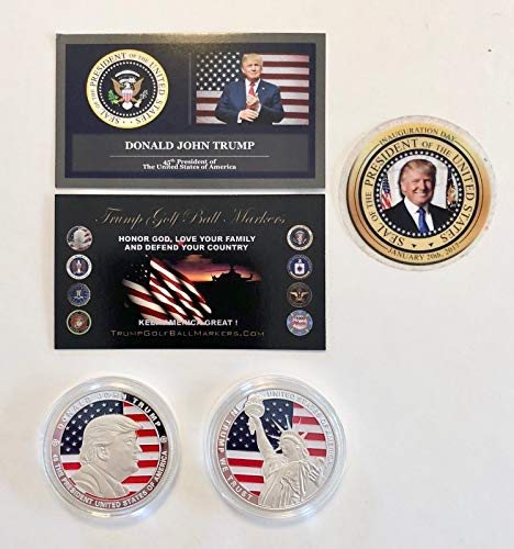 Virginia City Mint Trump Golf Ball Marker.45TH President of The USA .999 Silver Plated Coin ()