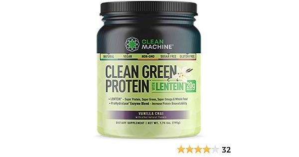 CLEAN MACHINE Máquina de proteína Limpia Limpia Verde Vainilla Lentein