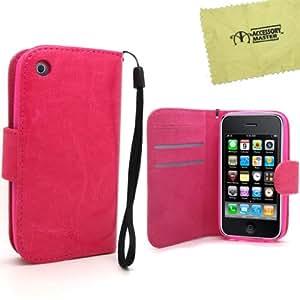 Accessory Master - Funda tipo libro para Apple iPhone 3GS, fabricada en piel PU, color rosa