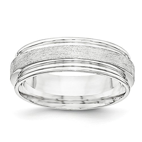 Jewelry Stores Network 7mm Sterling Silver Brushed Step Down Groove Wedding Band Ring Brushed Silver Step