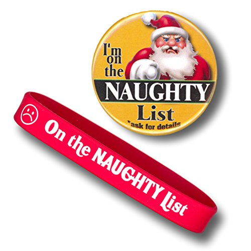 Naughty List Gift Set with Naughty Christmas Coal and Naughty List Button Pin (Wristband and Pin)