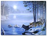Wolf Picture - Lighted Canvas Print with Wolves Crossing a River - LED Lights in Moon - 16 X 12