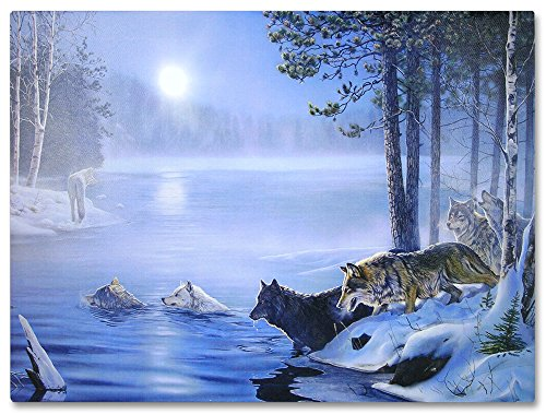Wolf Picture - Lighted Canvas Print with Wolves Crossing a River - LED Lights in Moon - 16 X 12 ()