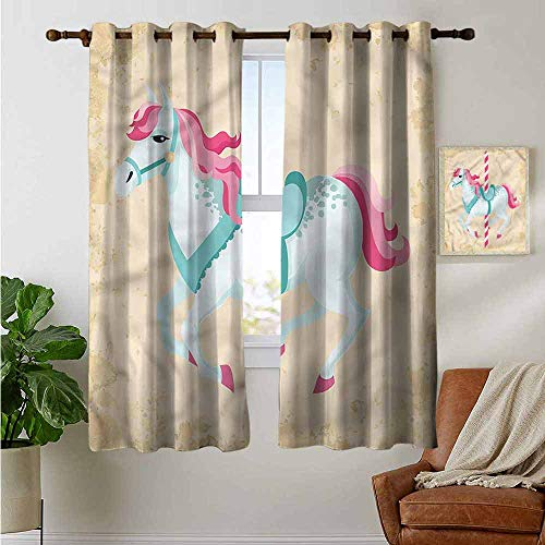 - petpany Blackout Curtains for Bedroom Horse,Vintage Carousel Horse Circus,Darkening Grommet Window Curtain 1 Pair 42