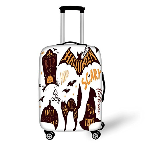 Travel Luggage Cover Suitcase Protector,Vintage Halloween,Halloween Symbols Trick or Treat Bat Tombstone Ghost Candy Scary Decorative,Dark Brown Orange,for Travel