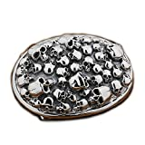 LINSION Black Tone Crowd Skulls Oval Belt Buckle 925 Sterling Silver 9C006