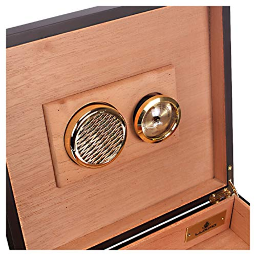 Portable cigar box Cigar Box, Cedar Wood Lined with Piano Paint Cigarette Case, Compact Cigar Cabinet, Can Hold 20 Cigars, Detachable Partition with Humidifier and Hygrometer Cigarette Case, Men's Gif by Ac498 (Image #2)
