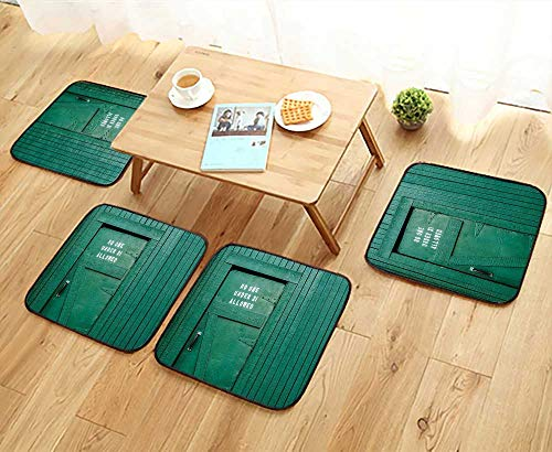 Chair Cushions eMochrome Vintage Local Iris Pub Rustic Door with Warning Phrase Culture Personalized Durable W15.5 x L15.5/4PCS Set ()
