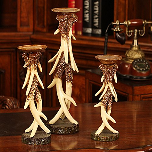 Elegant Vintage Resin Antlers Candlestick Carving Fine Crafts Pattern Wedding Decor Candle Holder Art Sculpture Three-piece Set by DEAI (Image #5)'