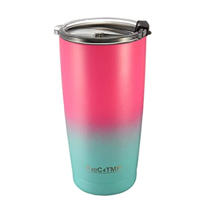 a6450dff7c7 Pink Tumbler 20 OZ Double Wall Vacuum Insulated Cups,Stainless Steel Metal  Coffee Tumbler with Spill Proof Lid for Hot/Cold Water/Drinks in ...