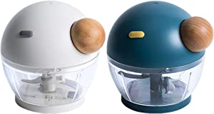 Jordan & Judy Veggie Chopper Hand Powered, Manual Mini Pull Chopper Masher, Portable Small Food Dicer Mincer Mixer Blender, Processor for Garlic Chili Nuts Mincer/Grinder, Baby Food Maker Blue