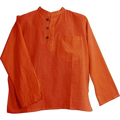 - Bohemian Yoga Hippie Cotton Mandarin Collar Long Sleeve Shirt Kurta Tunic Suresh (Large, 9 Orange)