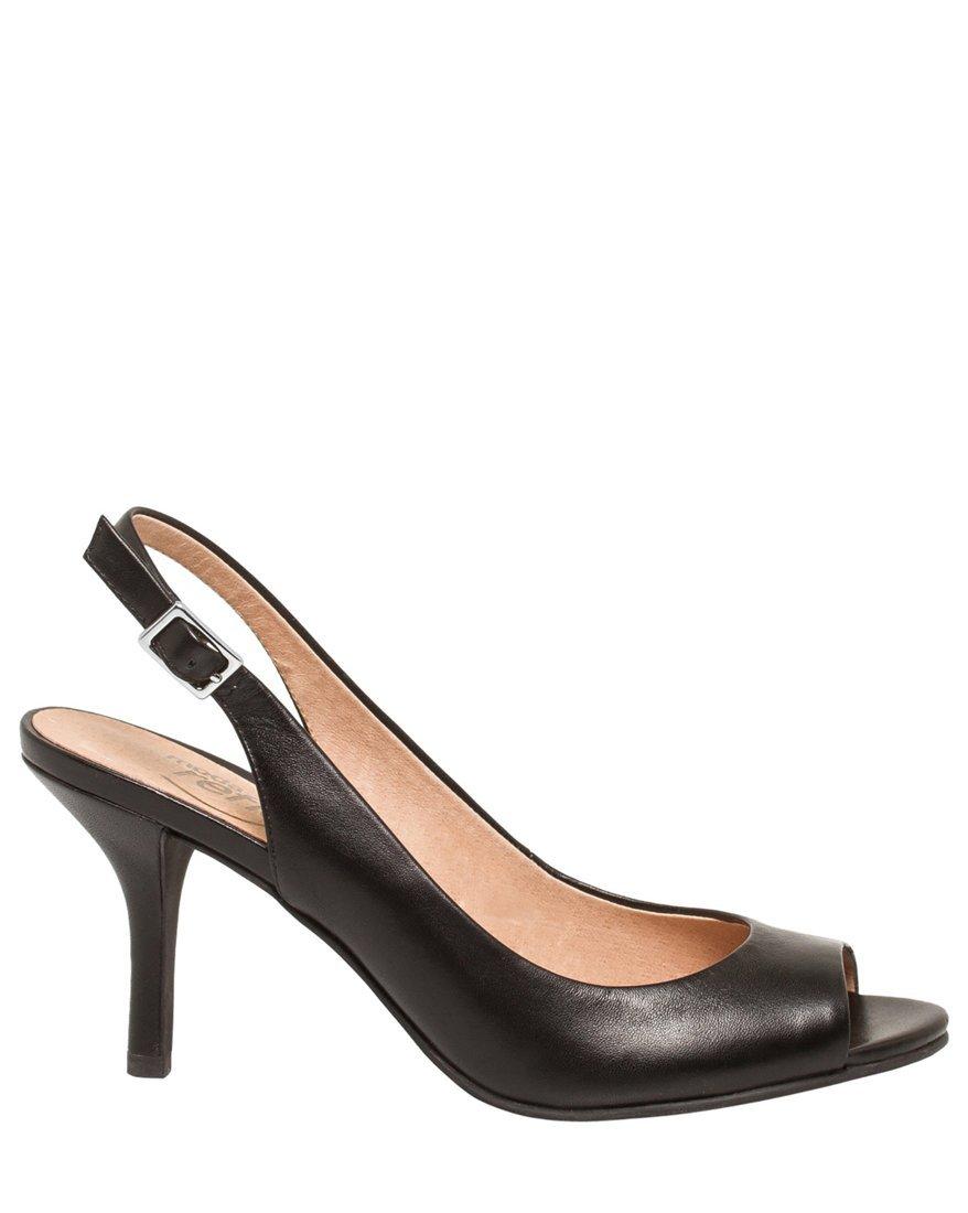 LE CHÂTEAU Women's Leather Peep Toe Slingback Sandal,9,Black