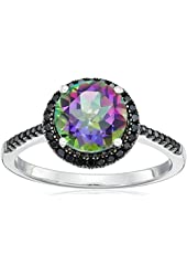 Sterling Silver Mystic Topaz and Black Spinel Halo Ring, Size 7