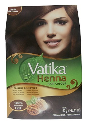 Dabur Vatika Henna Hair Colour Permanent Dark Brown 6x10g (insgesamt - 60g)