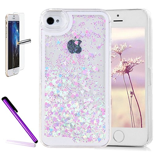 Heart Blue Glitter (iPhone 7 Case,iPhone 8 Cover,ISADENSER 3D Love Floating Quicksand Shiny Bling Glitter Flowing Liquid Transparent Hard PC Protective Case for iPhone 7/8 . Blue Pink Heart Paillette)