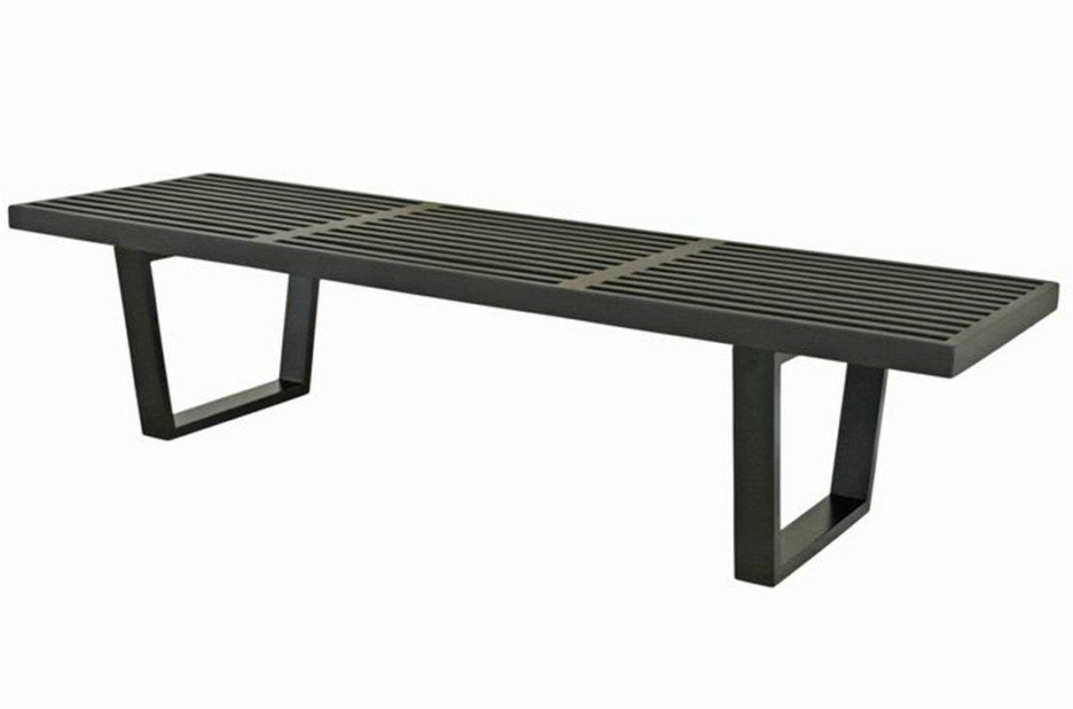 Mod Made 5 ft. Contemporary Mid Century Modern Platform Natural Wooden Slat Bench, Black