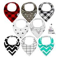 Ana Baby Premium Baby Bandana Drool Bibs 3 Snaps unisex 8-Pack Gift Set for D...