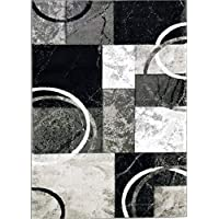 ADGO Atlantic Collection Modern Contemporary Abstract Geometric Circles Squares Swirls Living Dining Room Area Rug (5