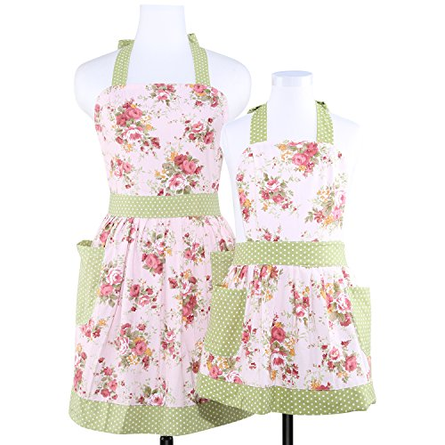 Neoviva Cotton Canvas Kitchen Apron for Women and Kid Girl, Floral Pink