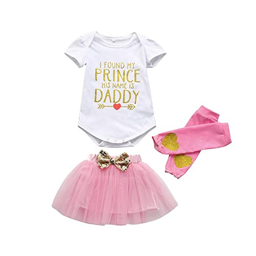 ed251efc4 Amazon.com: ❤ Mealeaf ❤ 3Pcs Baby Girls Birthday Party Outfits Clothes  Romper+Tutu Skirt+Leggings Set 3-18 Months: Clothing