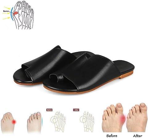GRASSAIR Sandalias de Mujer, Zapatos de corrección de Dedo Gordo del pie Mujer Verano Playa Zapatillas de Viaje de Cuero de PU Coronetes de Corrector para Mujer,Black,34: Amazon.es: Hogar