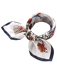 Women's 27.5'' Silk Satin Square Floral Print Hair Head Scarf Neckerchief