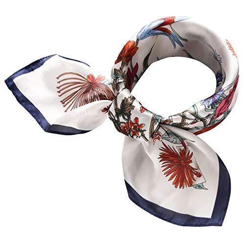 RIIQIICHY Women's 27.27'' Silk Satin Square Floral Print Hair Head Scarf Neckerchief