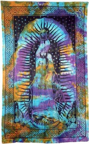 Santa Muerte Tapestry in Tie Dye 72'' x 108'' by Treasures Stones Crystals & More