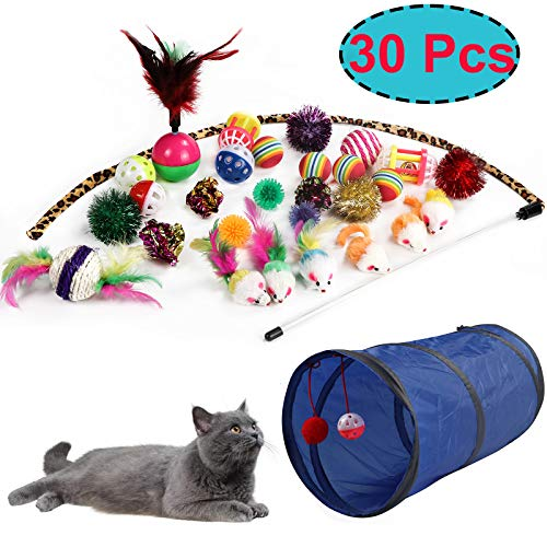JJYPet 30Pcs Cat Toys Kitten Toys Assortments,2 Way Tunnel,Cat Balls with Bells,Cat Feather Toy,Cat Mouse Toy,Crinkle Balls Cat,Puppy,Kitty,Kitten