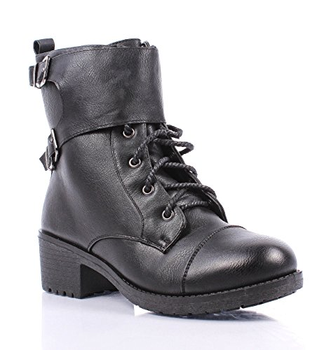 Adjustable Buckle Synthetic Leather Ankle high