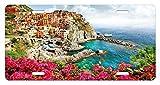 zaeshe3536658 Italy License Plate, Monarola Antique Village in Cinque Terre Coastal Panorama Summer Beach Scenic View, High Gloss Aluminum Novelty Plate, 6 X 12 Inches, Multicolor