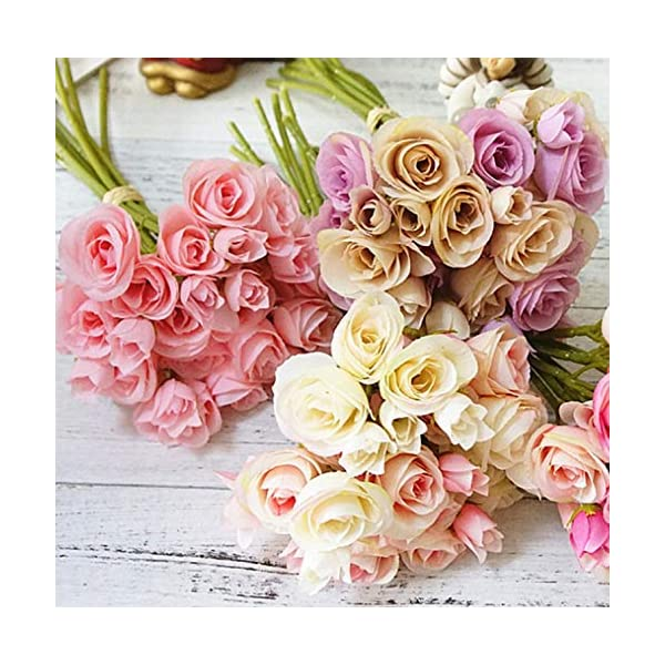 Mistari 18 Heads Plastic Artificial Flowers Roses Fake Silk Flowers Home Decorative Party Wedding (Light Pink)